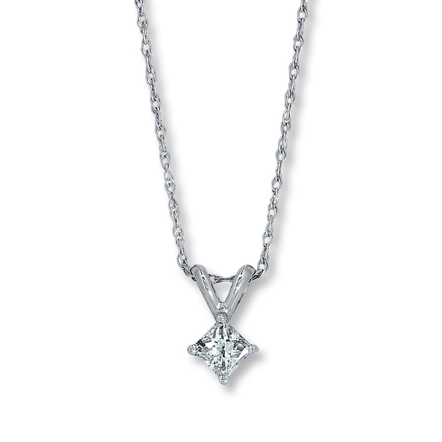 Jared Diamond Necklace 13 Carat Princesscut 14K White Gold