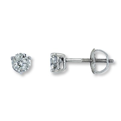 Leo Solitaire Earrings 1 ct tw Diamonds 14K White Gold- Solitaire