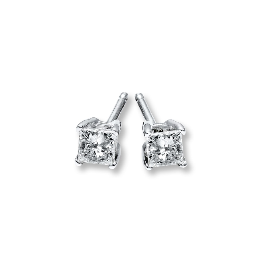 gold white earrings in of carat diamonds stud tw with