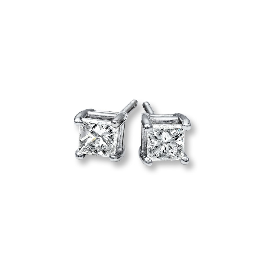 set asp cut p stone princess stud gold diamond earrings rubover white
