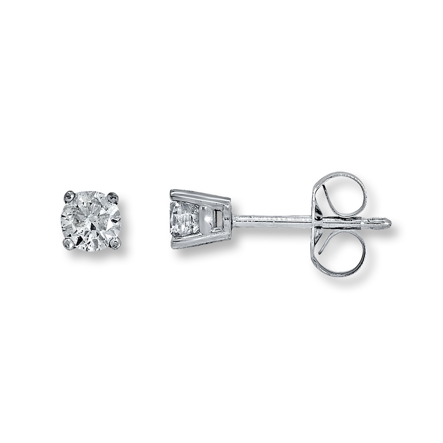 21478feb0 Diamond Solitaire Earrings 1/3 ct tw Round-cut 14K White Gold ...