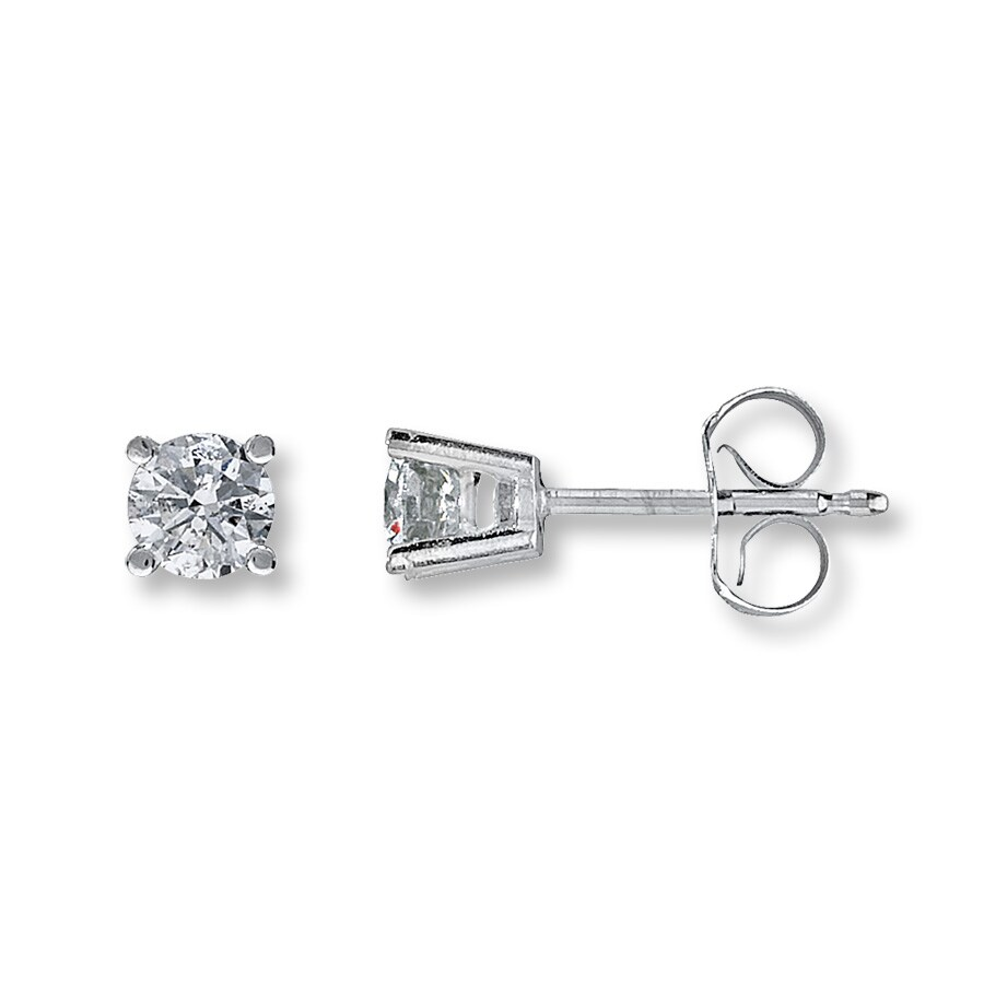 Diamond Solitaire Earrings 1 2 Ct Tw Round Cut 14k White Gold
