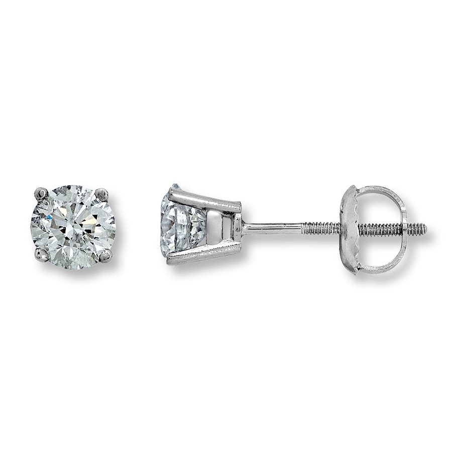 Diamond Solitaire Earrings 1 Ct Tw Round Cut 14k White Gold