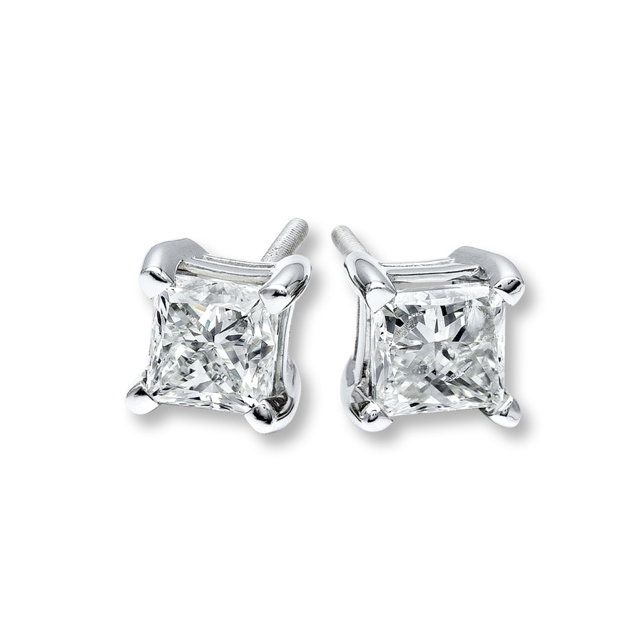 Diamond Earrings 1 ct tw PrincessCut 14K White Gold