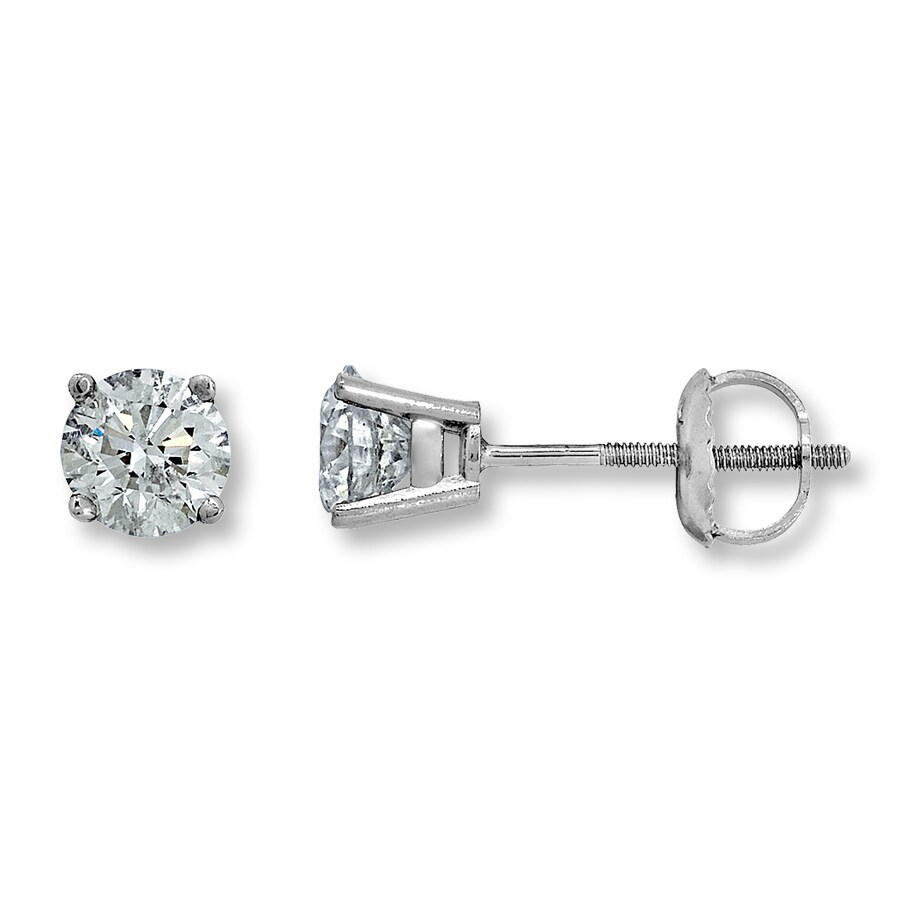 Certified Diamonds 1 4 Ct Tw Round Cut 18k White Gold Earrings
