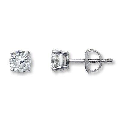 Certified Diamonds 1-1/2 cttw Round-cut 18K White Gold Earrings