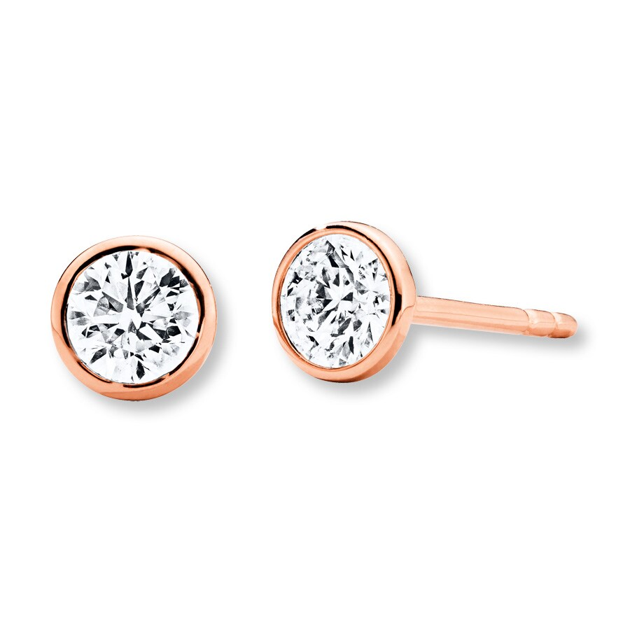 Diamond Solitaire Earrings 1 2 ct tw Bezel-set 14K Rose Gold ... d55216a6c0e9c