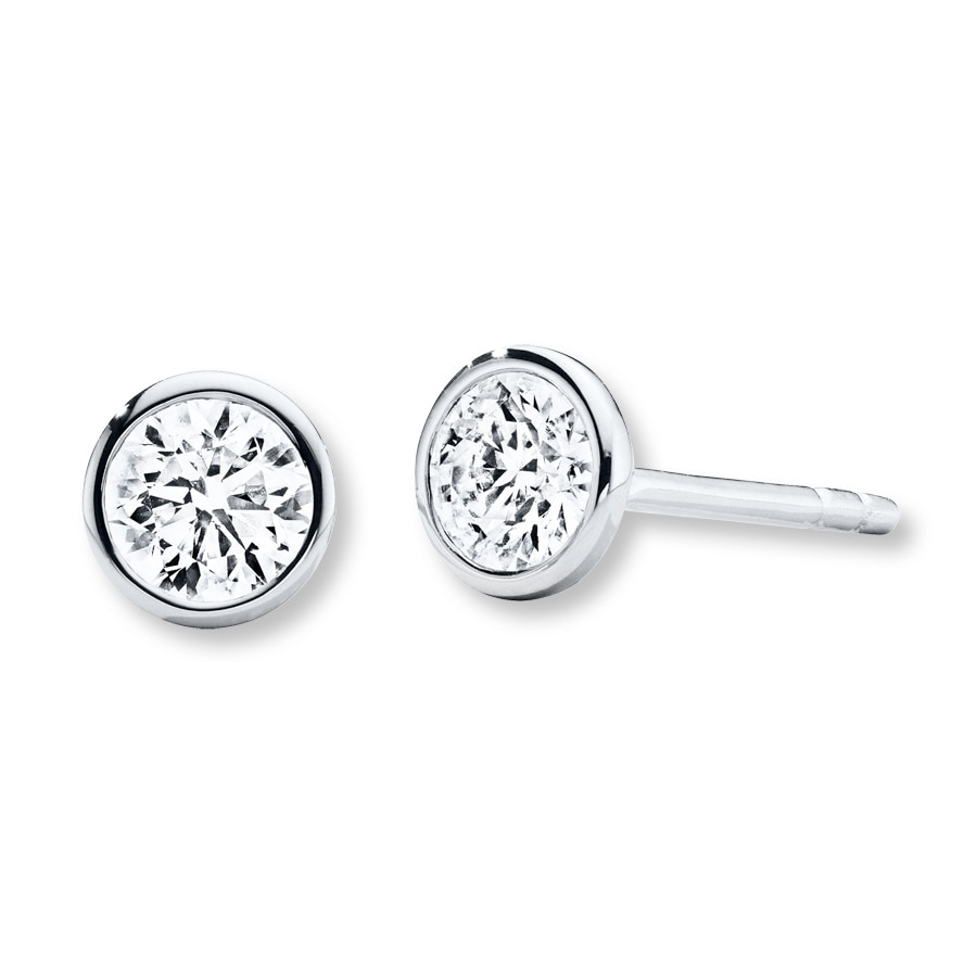 cce310881de3 Diamond Solitaire Earrings 1 2 ct tw Bezel-set 14K White Gold. Stock   200449104. Tap to expand