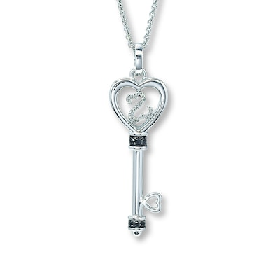 Jared Open Hearts Key Necklace 1/15 ct tw Diamonds Sterling Silver- Hearts