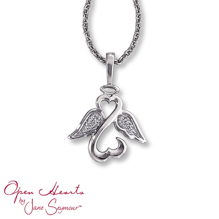 Jared Open Heart Angel Necklace Diamond Accents Sterling Silver