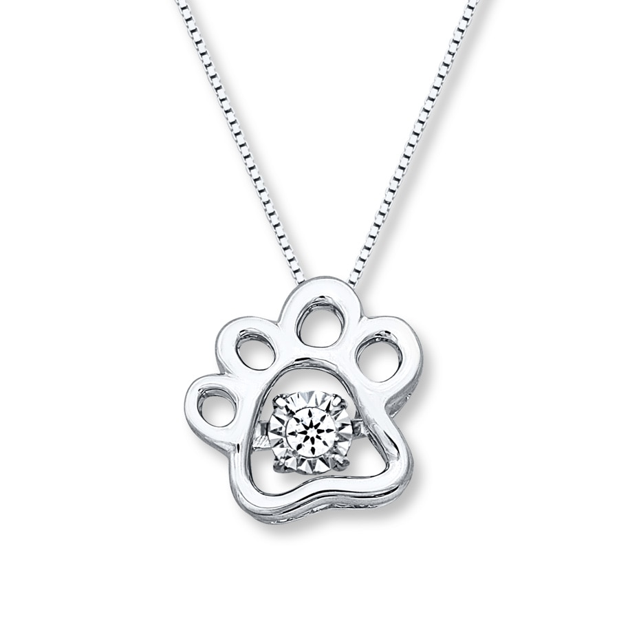 Jared Diamonds in Rhythm Paw Print Necklace Sterling Silver