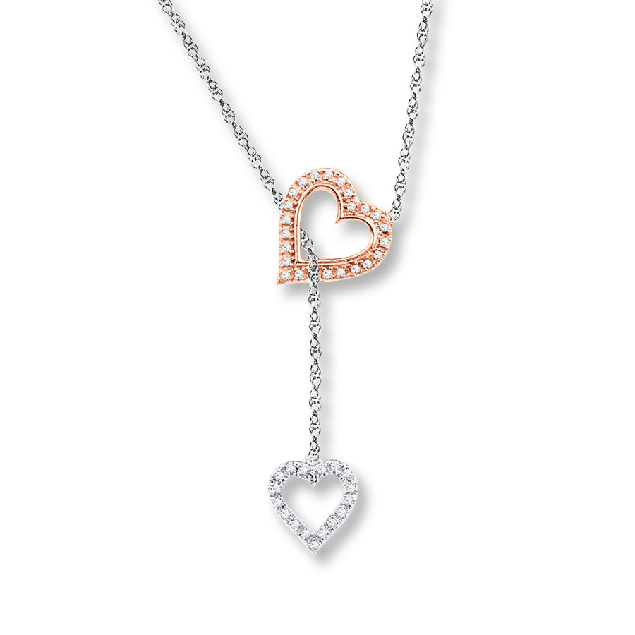 Heart Lariat Necklace 1 8 Ctw Diamonds Sterling Silver 10k