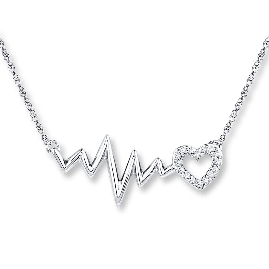 Heartbeat Necklace 1 20 Ct Tw Diamonds 10k White Gold