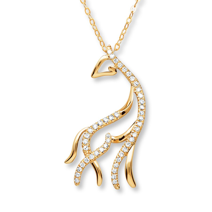 Jared Giraffe Necklace 110 ct tw Diamonds 10K Yellow Gold