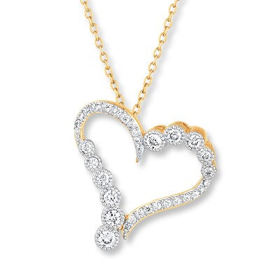 Diamond Heart Necklace 1/2 ct tw Round-cut 14K Two-Tone Gold