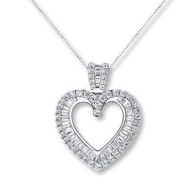 Diamond Heart Necklace 3/4 ct tw Round/Baguette 14K White Gold
