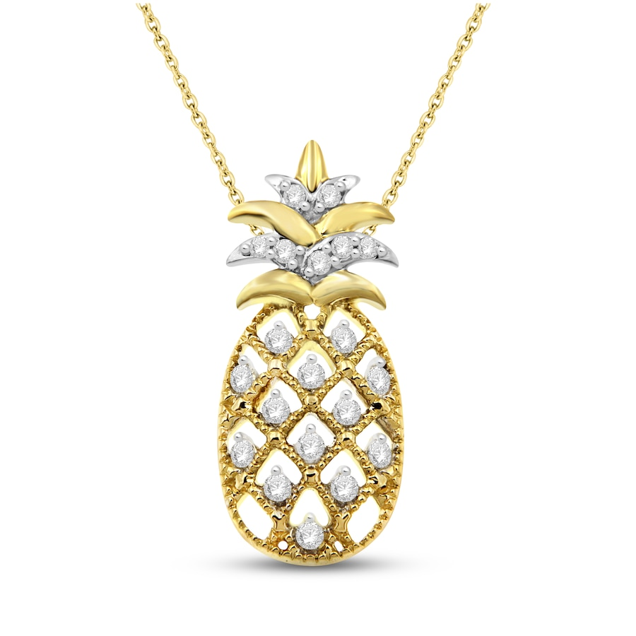 Jared Pineapple Necklace 1 8 Ct Tw Diamonds 10k Yellow Gold