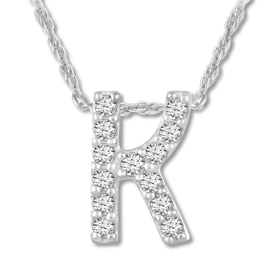 46e9eec90cc27 Diamond Initial K Necklace 1/20 ct tw Round-cut 10K White Gold ...