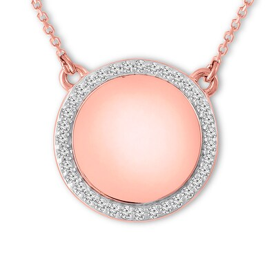 Diamond Circle Necklace 1/6 ct tw Round-cut 10K Rose Gold