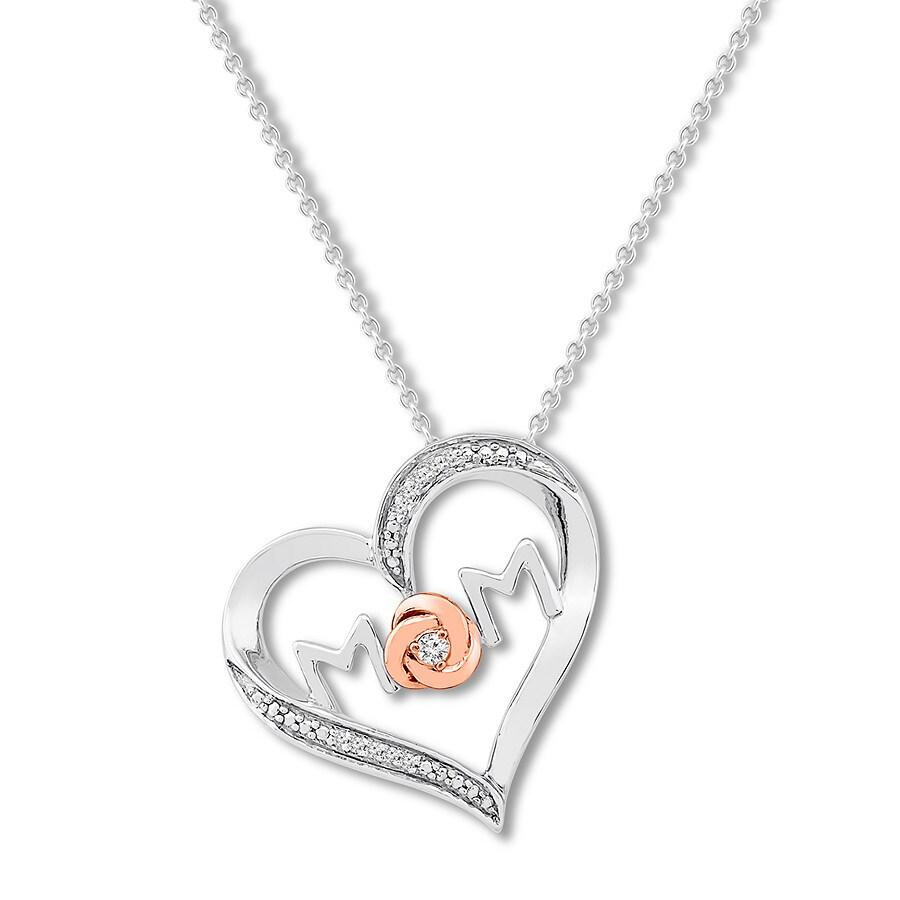 a1bb45dcf Mom Heart Necklace 1/20 ct tw Diamonds Sterling Silver/10K Gold ...