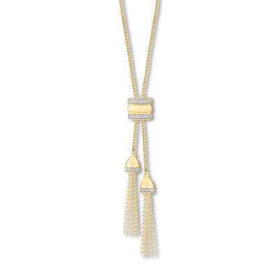 Tassel Bolo Necklace 1/8 ct tw Diamonds 10K Yellow Gold