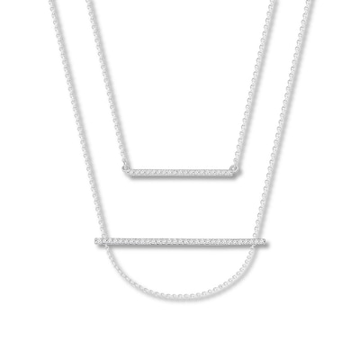Diamond Double Bar Necklace 1/5 ct tw Round 10K White Gold
