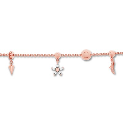 Charm Necklace 1/15 carat tw Diamonds 10K Rose Gold