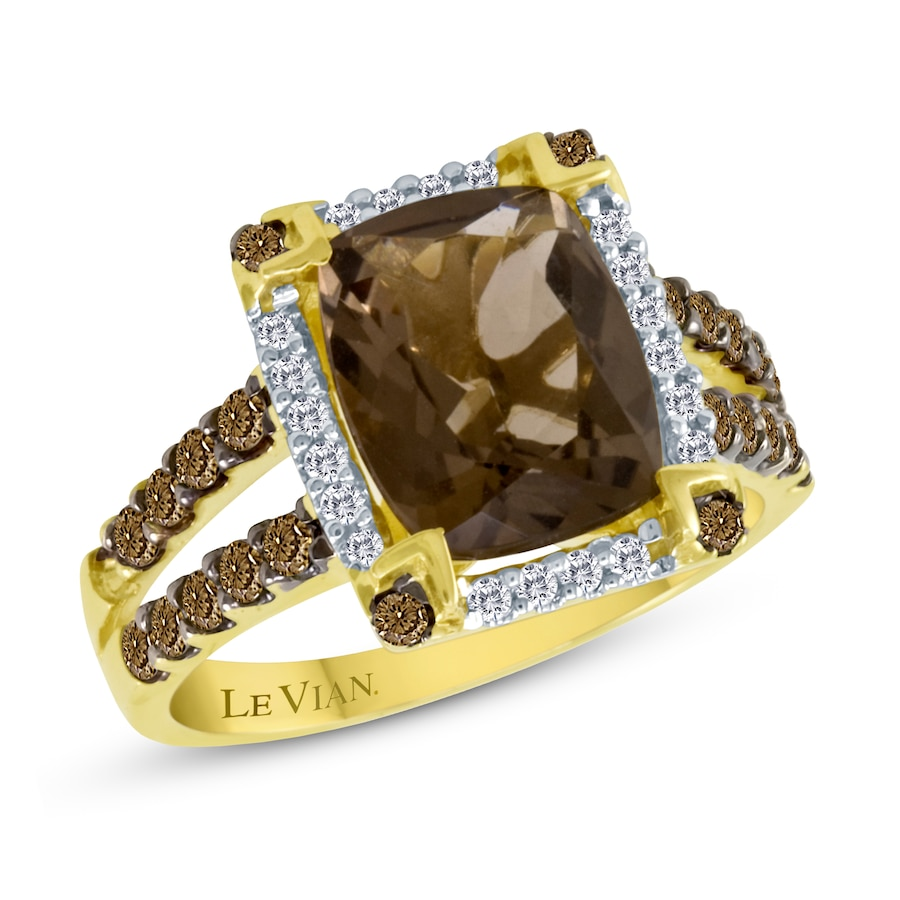 Jared Le Vian Chocolate Quartz 12 ct tw Ring 14K Honey Gold