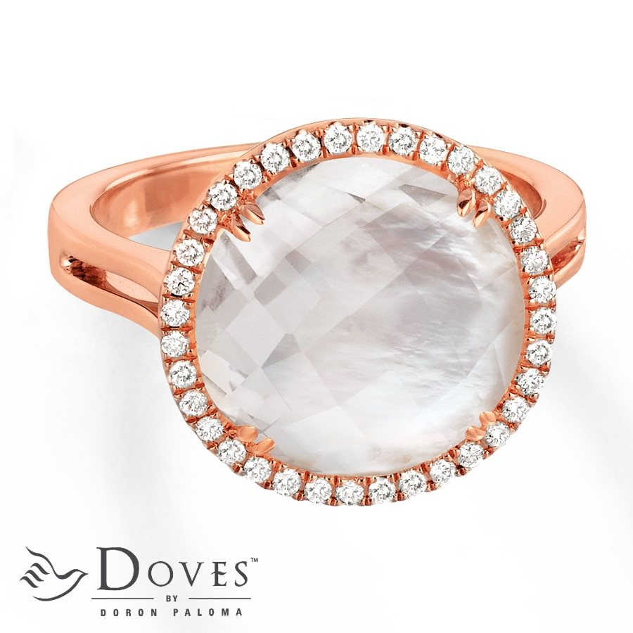 Jared Doublet Ring by Doves Quartz Mother of Pearl 14K Rose Gold