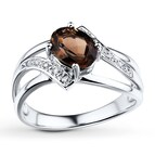 Smoky Quartz Ring 1/20 ct tw Diamonds 10K White Gold