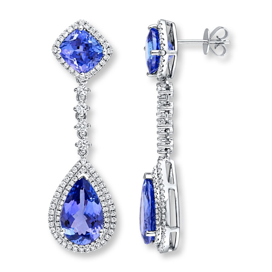 3b011449f6cd5b Tanzanite Drop Earrings 1-1/4 ct tw Diamonds 14K White Gold ...