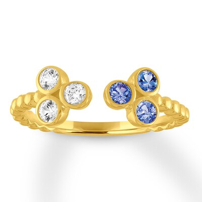 Tanzanite & White Topaz Deconstructed Ring 10K Yellow Gold