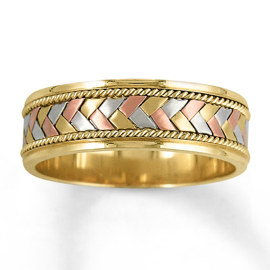 Wedding Band 14k Tri Color Gold 7mm