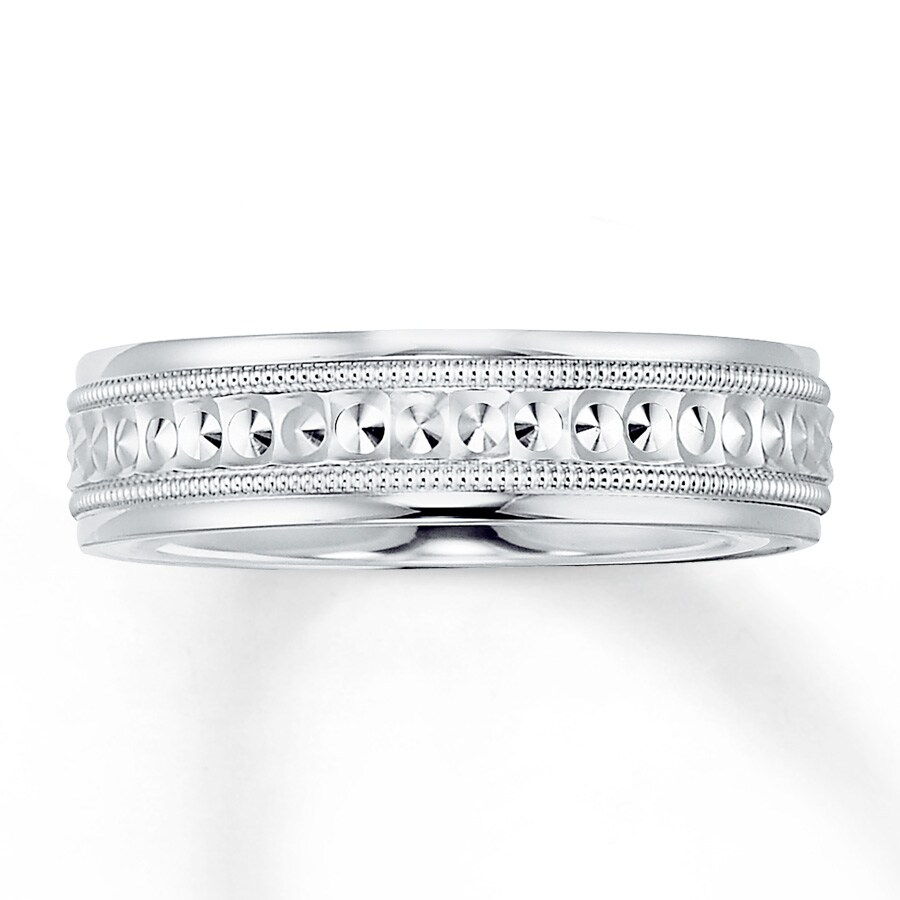 jared men 39 s wedding band 14k white gold 6mm