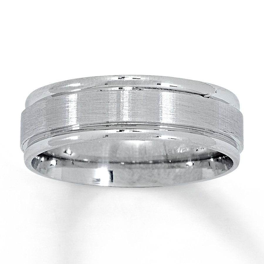 Jared Men s Wedding Band 18K White Gold Platinum 6 5mm