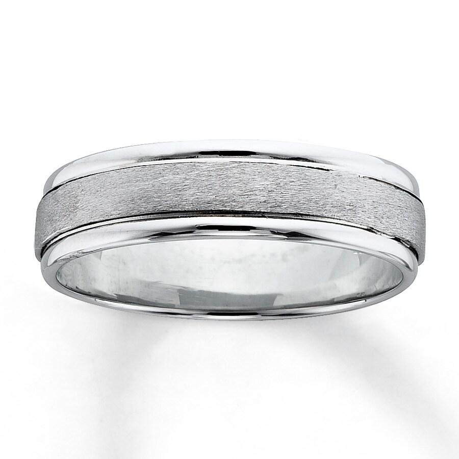 White Gold Wedding Band.18k White Gold And Platinum Wedding Band For Him