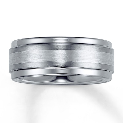 Jared Men's Band Tungsten Carbide  Platinum Inlay- Rings