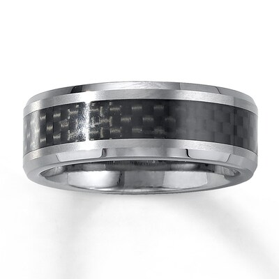 Jared 8mm Wedding Band Tungsten Carbide Carbon Fiber- Anniversary & Wedding