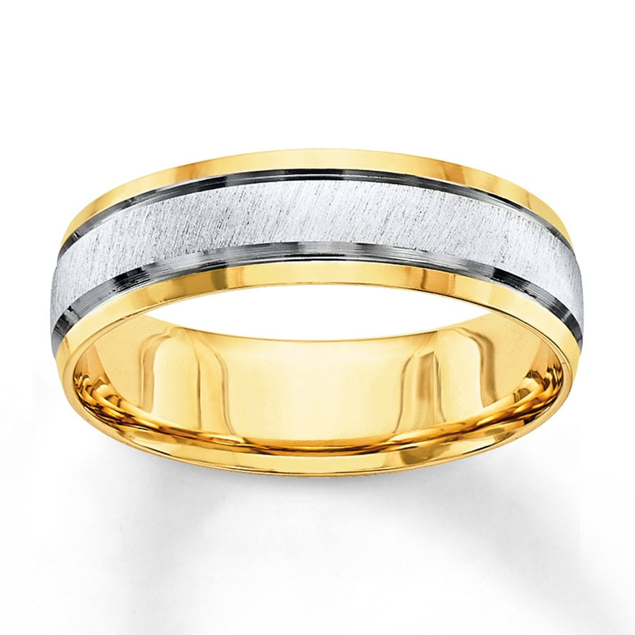 Jared Wedding Band 10K TwoTone Gold 6mm