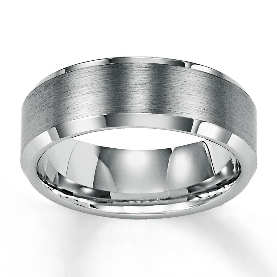Wedding Band White Tungsten Carbide 8mm