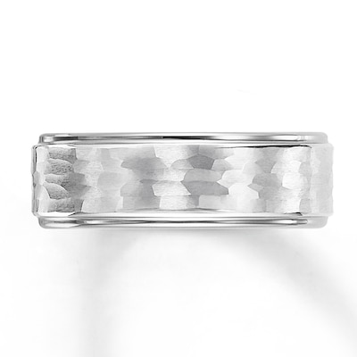 Jared Wedding Band White Tungsten Carbide 8mm- Anniversary & Wedding