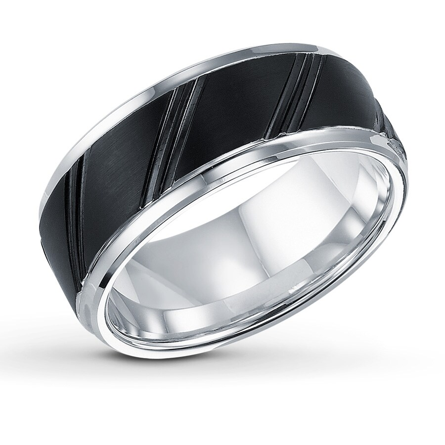 Jared men39s 9mm wedding band black white tungsten carbide for Jared mens wedding rings