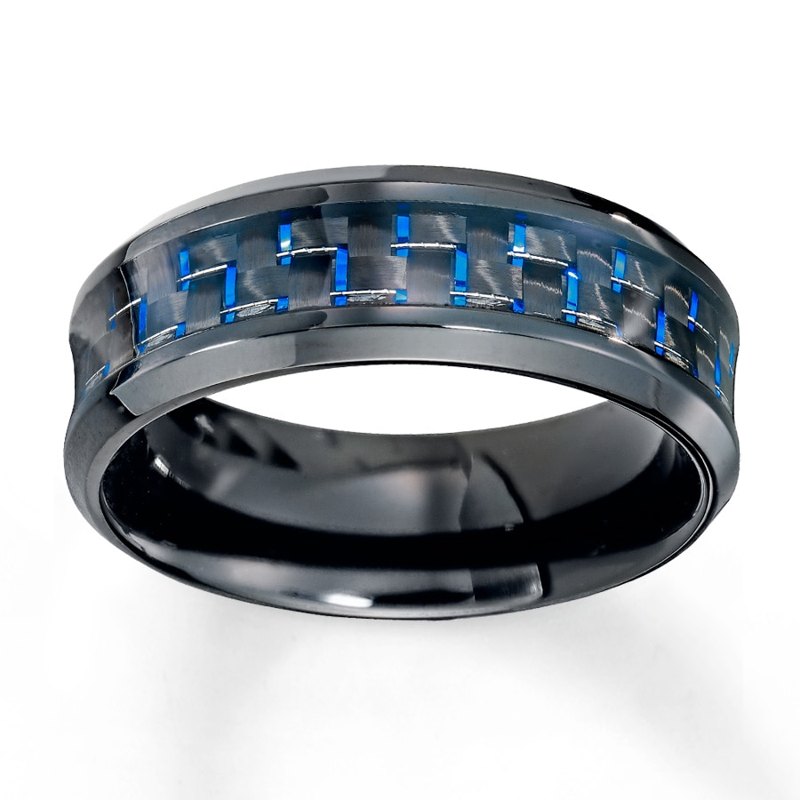Stainless Steel Mens Wedding Band Ring 8mm: Men's Wedding Band Blue Carbon Fiber Stainless Steel 8mm