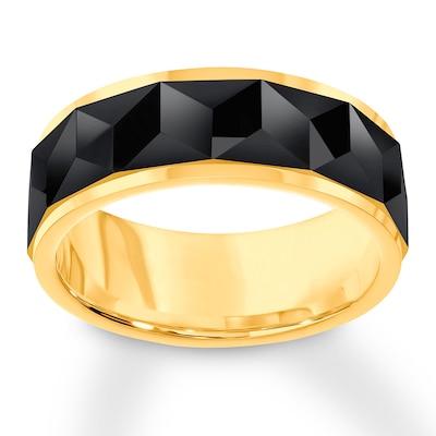 Triton Wedding Band Black/Yellow Tungsten Carbide 8mm