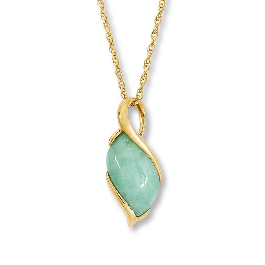 Jared 14K Yellow Gold Green Jade Necklace