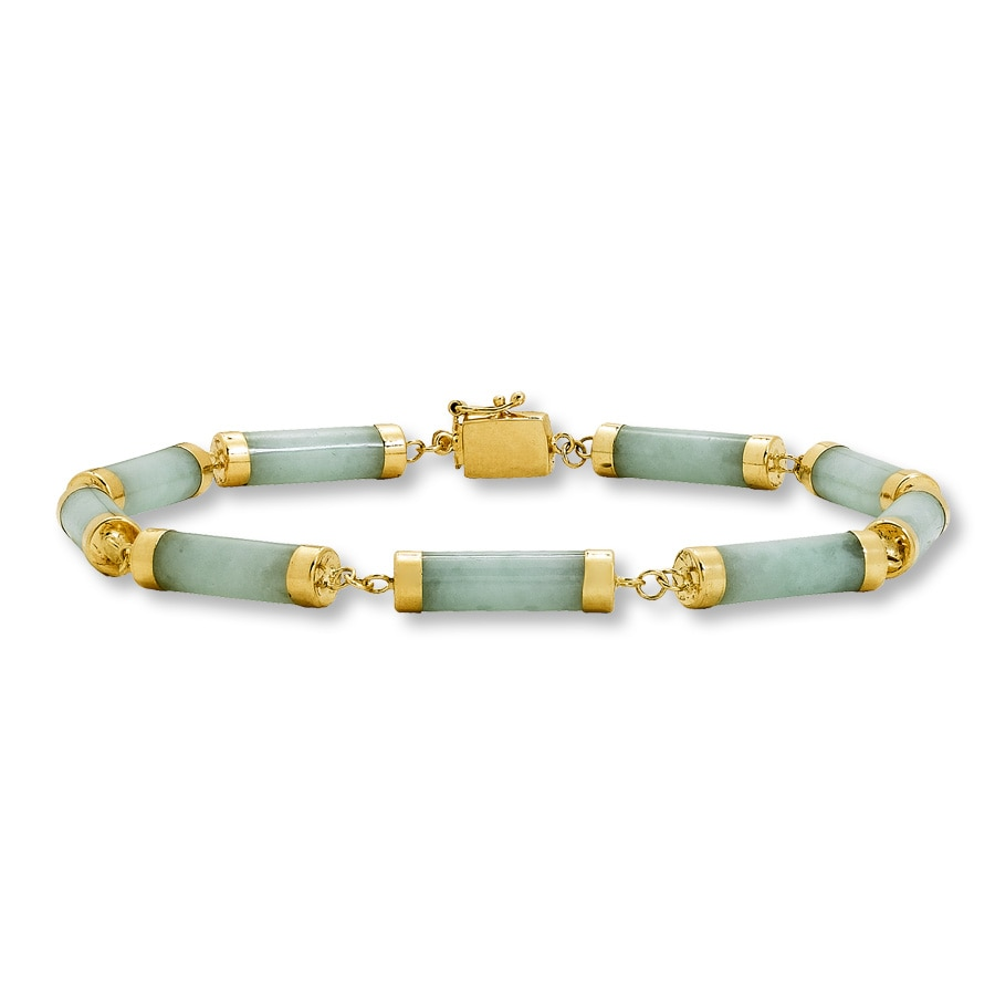 Jared 14K Yellow Gold Green Jade Bracelet