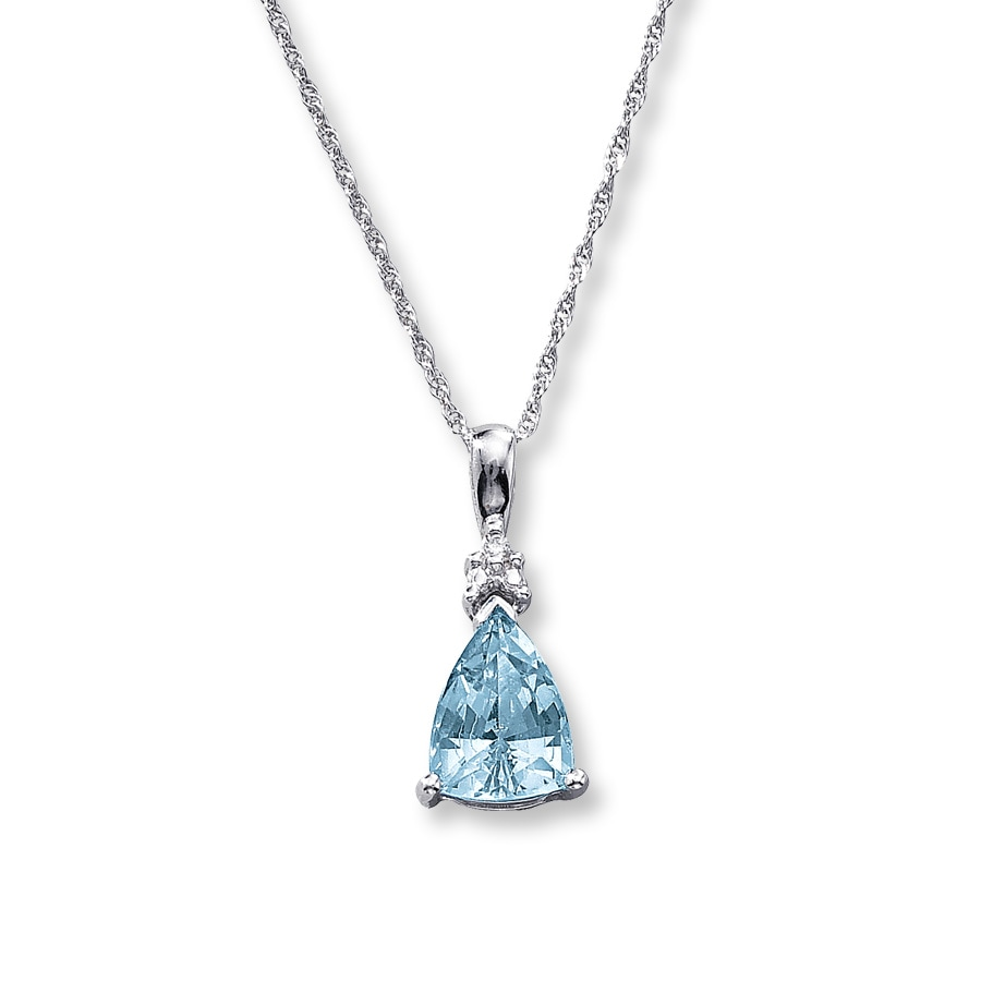 Jared - Aquamarine Necklace Triangle-Cut with Diamond 10K ...