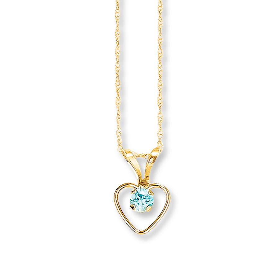 jared blue zircon necklace 14k yellow gold