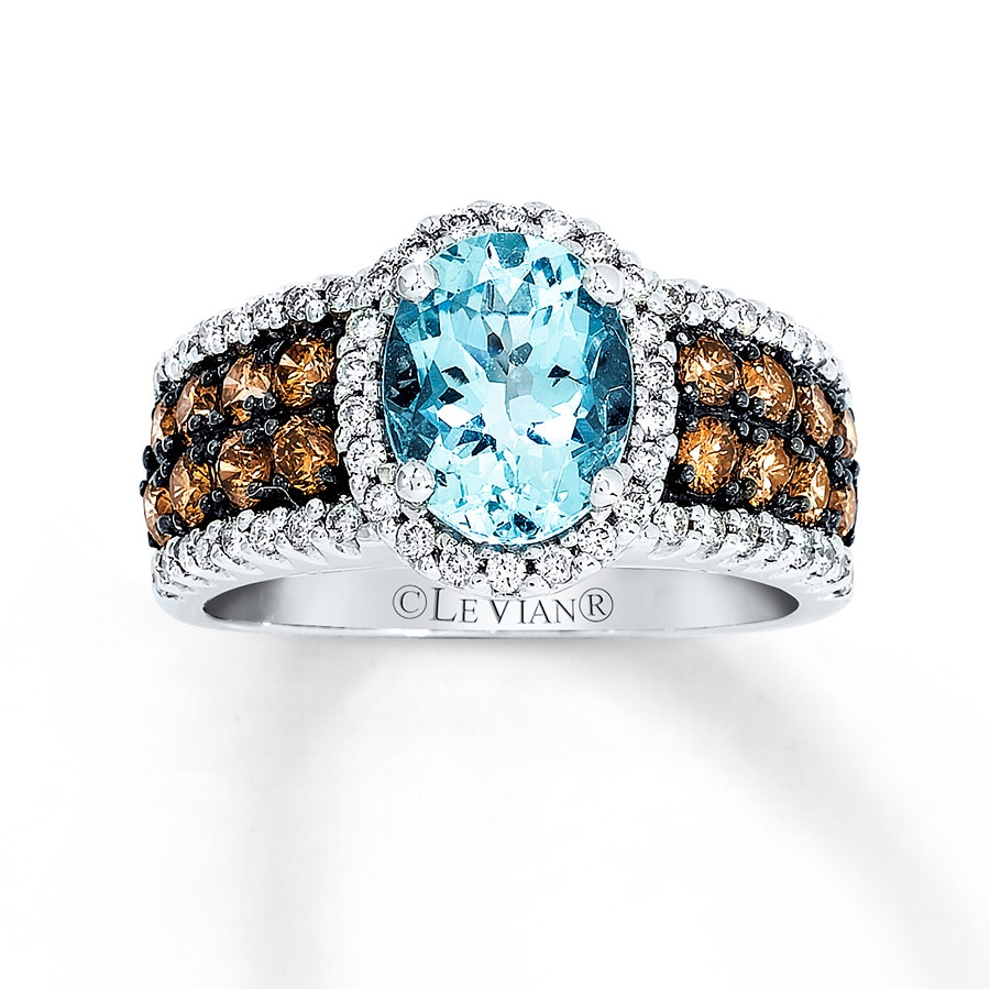 Jared Le Vian Aquamarine Ring 116 ct tw Diamonds 14K Vanilla Gold