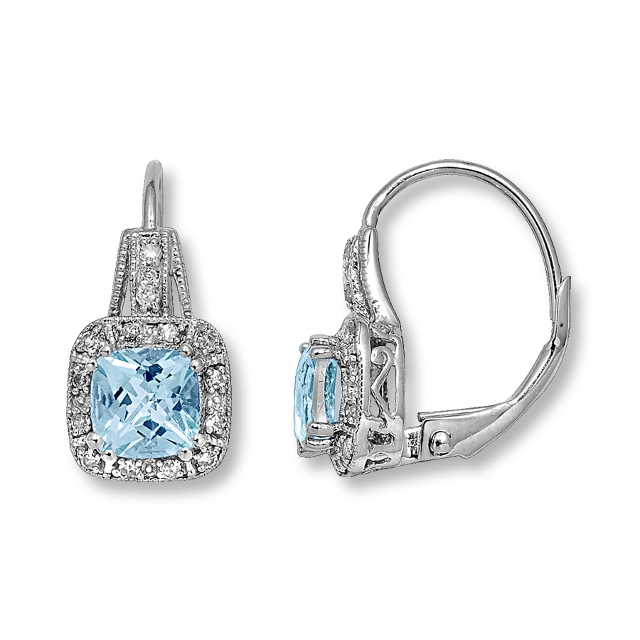 10k White Gold Diamond Aquamarine Earrings Tap To Expand